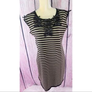 Leo Guy Striped Shift Beige/Black Dress with Bows